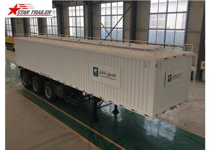 Box 3-4 Axles Flatbed Container Trailer 60-100Tons Dry Food Van Transport