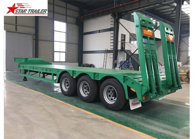 3 Axles 60 Ton Low Bed Semi Trailer With Detachable And Folding Ladders