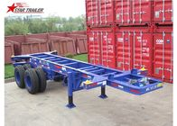 China Container Transport Tri Axle Skeletal Trailer , Red Multi Function Skeletal Trailer factory