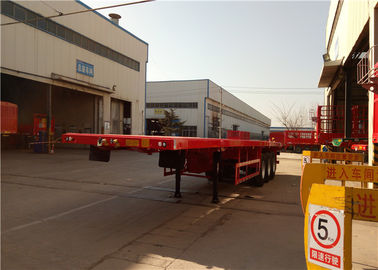 China 3 Axle Steel Flatbed Semi Trailer For Shipping 40ft Container Transport factory