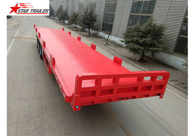 China 13 Meters 3 Axles Commercial Flatbed Trailer With Dual Line Brake System factory