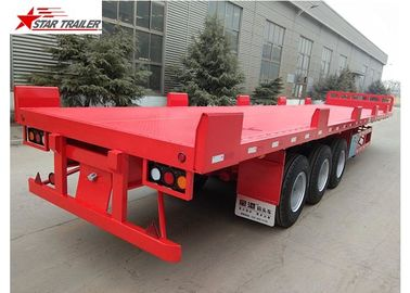 China 12 Wheels 13 Meters Platform Semi Trailer 3 Axles Low Alloy Steel Material distributor