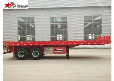 China 2 Axles 30ft 30Ton Flatbed Semi Trailer Leaf Spring Suspension 12R22.5 Tire distributor