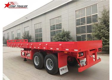 China 2 Axles 30ft 30Ton Flatbed Semi Trailer For Transporting Construction Machinery distributor