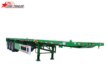 China 20-60Ft 3 Axles Flatbed Semi Trailer 12000x2496x1650mm 80T Payload distributor
