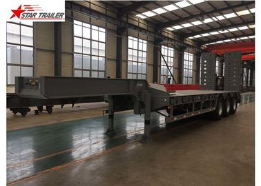 China Detachable Hydraulic Low Flatbed Semi Trailer For Mining And Forestry Machinery distributor