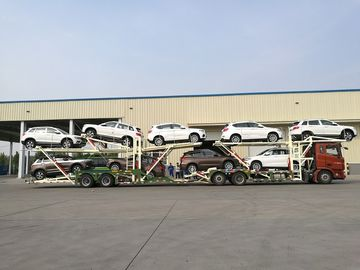 China Manual Operating Car Carrier Trailer With Hydraulic Lifting Double - Deck distributor