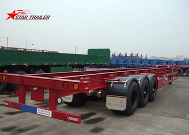 China Startrailer Red Color Gooseneck Skeletal Container Trailer For Truck , Long Life distributor