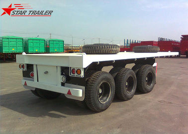 China Three - Axle 40FT 12 Tires Flatbed Semi Trailer , Flatbed Equipment Trailer distributor