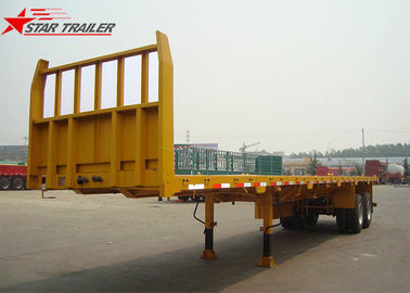 China 2- Axis 40 Foot Flat Deck Semi Trailer Baffle 8 Tires 13T FUWA Axles In Yellow factory