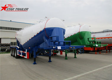 China Green Three Axles Bulk Cement Semi Trailer Banana Type Technical Details distributor